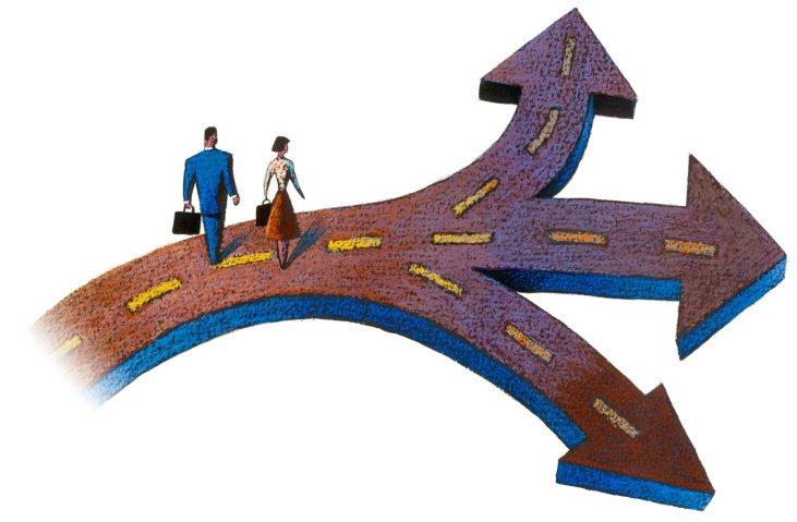 Desenho de um homem e uma mulher, executivos, escolhendo que caminho seguir