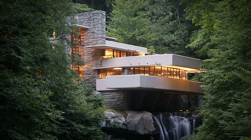 Tour 3d na fallingwater for Frank lloyd wright architettura organica